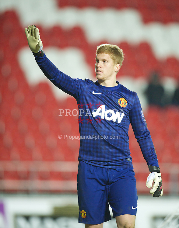 ST HELENS, ENGLAND - Monday, February 25, 2013: Manchester United's goalkeeper Ben Amos in action against Liverpool during the Premier League Academy match at Langtree Park. (Pic by David Rawcliffe/Propaganda)