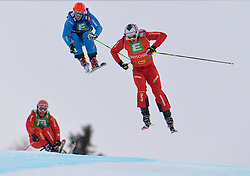 25.01.2014, Kreischberg, St. Georgen, AUT, FIS Weltcup Ski Cross, im Bild v.l.n.r. 3rd place Michael Schmid of Switzerland, Michael Schmid (SUI, 3. Platz), Johannes Rohrweck (AUT, 2. Platz), Alex Fiva (SUI, 1. Platz) // f.l.t.r. 2nd place Johannes Rohrweck of Austria, 1st place Alex Fiva of Switzerland in action during the FIS Ski Cross World Cup at the Kreischberg in St. Georgen, Austria on 2014/01/25. EXPA Pictures © 2014, PhotoCredit: EXPA/ Johann Groder