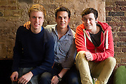 19/04/2012. London, UK. Former member of pop-rock bands Busted and Son of Dork James Bourne and writer and composer Elliot Davis introduce the cast of their original Britsih musical LOSERVILLE. Premiering at the West Yorkshire Playhouse, Leeds. Picture shows: Richard Lowe (Lucas), Aaron Sidwell (Michael), and Lil' Chris (Francis).