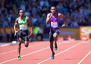 Kermar Hyman CAY (left) and Julian Forte JAM competing in the 100m heat during the IAAF  Diamond League Sainsbury's Birmingham Grand Prix at Alexander Stadium, Birmingham<br /> Picture by Alan Stanford/Focus Images Ltd +44 7915 056117<br /> 07/06/2015