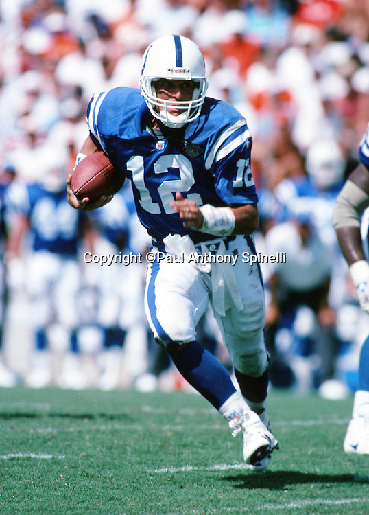 Indianapolis Colts quarterback Jim Harbaugh (12) runs the ball during the NFL football game against the Tampa Bay Buccaneers on Sept. 11, 1994 Tampa, Fla. The Bucs won the game 24-10. (©Paul Anthony Spinelli)