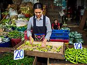 22 MAY 2018 - BANGKOK, THAILAND:   at Khlong Toei Market in Bangkok. It is the largest wet market in Thailand.      PHOTO BY JACK KURTZ
