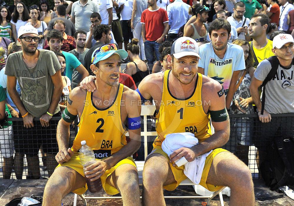 Roma, 20 giugno 2013<br /> Beach Volley Swatch FIVB World Tour - Smart Grand Slam Rome 2013. Foro Italico.<br /> Giorno 3 - Uomini - Secondo turno Pool G<br /> Alison-Emanuel BRA vs Urbatzka-Fuchs GER 2-1 (16-21, 21-15, 15-13)<br /> foto di Simone Ferraro / GMT