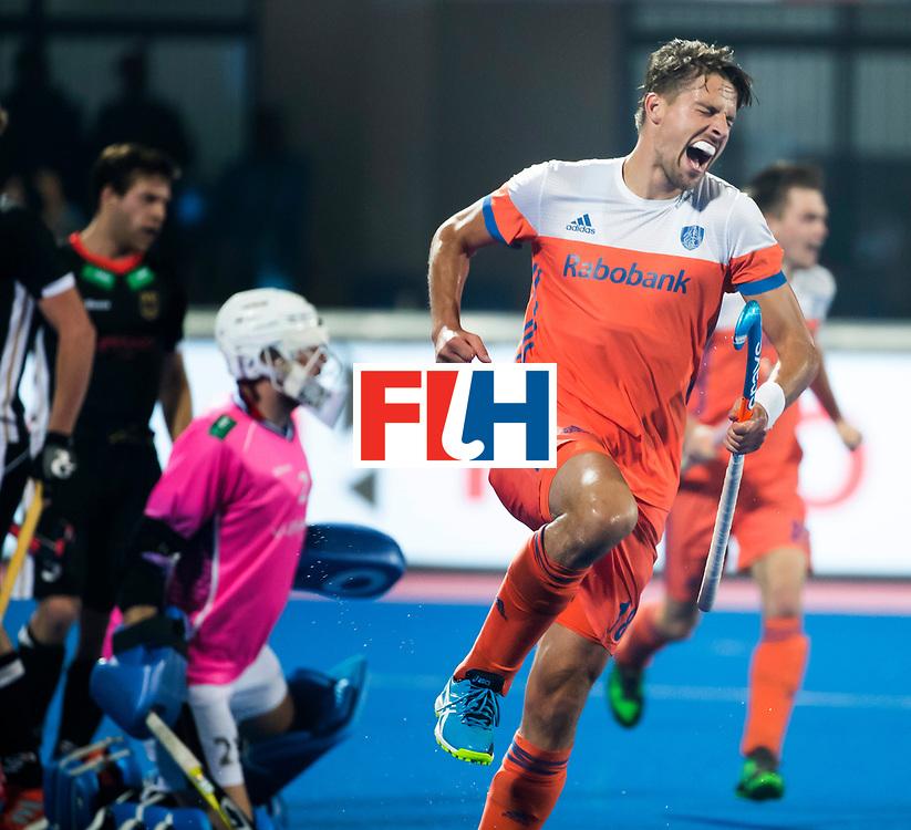 BHUBANESWAR -  Bjorn Kellerman (Ned) heeft de stand op 1-2 gebracht tijdens de Hockey World League Finals , de kwartfinale wedstrijd Duitsland-Nederland.   COPYRIGHT KOEN SUYK