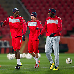 Maurice Edu,  Francisco Torres and Jozy Altidore during training session of USA National team before FIFA World Cup 2010 soccer match against Slovenia at  Ellis Park Stadium on June 17, 2010 in Johannesburg, South Africa.  (Photo by Vid Ponikvar / Sportida)