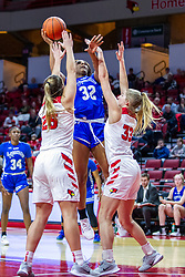 NORMAL, IL - January 03: Lexi Wallen and Hannah Kelle double team Jamyra McChristine during a college women's basketball game between the ISU Redbirds and the Sycamores of Indiana State January 03 2020 at Redbird Arena in Normal, IL. (Photo by Alan Look)