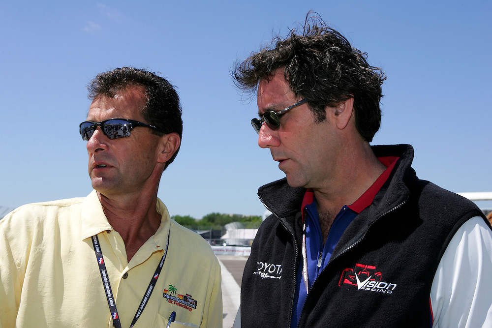 Barry Green and Tony George at St. Petersburg, Honda Grand Prix of St. Petersburg, April 3, 2005