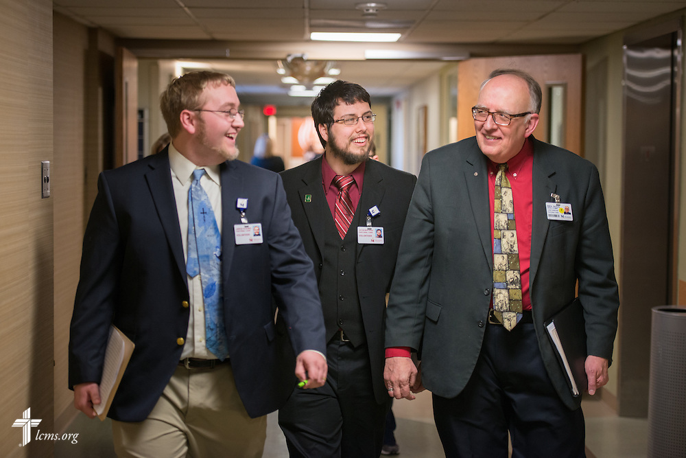 The Rev. Doug Nicely (right), chaplain at Memorial Hospital in Belleville, Ill., walks with Seminarians Jacob Berlinski (center) and Jared Koenig (left) of Concordia Seminary, St. Louis, on Wednesday, Jan. 14, 2015. LCMS Communications/Erik M. Lunsford