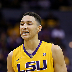 Jan 16, 2016; Baton Rouge, LA, USA; LSU Tigers forward Ben Simmons (25) against the Arkansas Razorbacks during the second half of a game at the Pete Maravich Assembly Center. LSU defeated Arkansas 76-74. Mandatory Credit: Derick E. Hingle-USA TODAY Sports