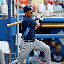 March 16, 2012; Dunedin, FL, USA; Tampa Bay Rays second baseman Ben Zobrist (18) against the Toronto Blue Jays during a spring training game at Florida Auto Exchange Stadium. Mandatory Credit: Derick E. Hingle-US PRESSWIRE
