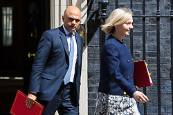 London, July 18th 2017. In a clear demonstration of unity with a cabinet that has seemed to be split over Brexit and other issues,  Government ministers, L-R Communities and Local Government Secretary Sajid Javid and Chief Secretary to the Treasury Liz Truss leave the last cabinet meeting together before the Parliamentary summer recess at Downing Street in London.