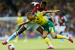 Moritz Leitner of Norwich City Wesley of Aston Villa battles for possession - Mandatory by-line: Phil Chaplin/JMP - 05/10/2019 - FOOTBALL - Carrow Road - Norwich, England - Norwich City v Aston Villa - Premier League