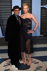 Spike Lee (left) and Tonya Lewis Lee arriving at the Vanity Fair Oscar Party held in Beverly Hills, Los Angeles, USA.