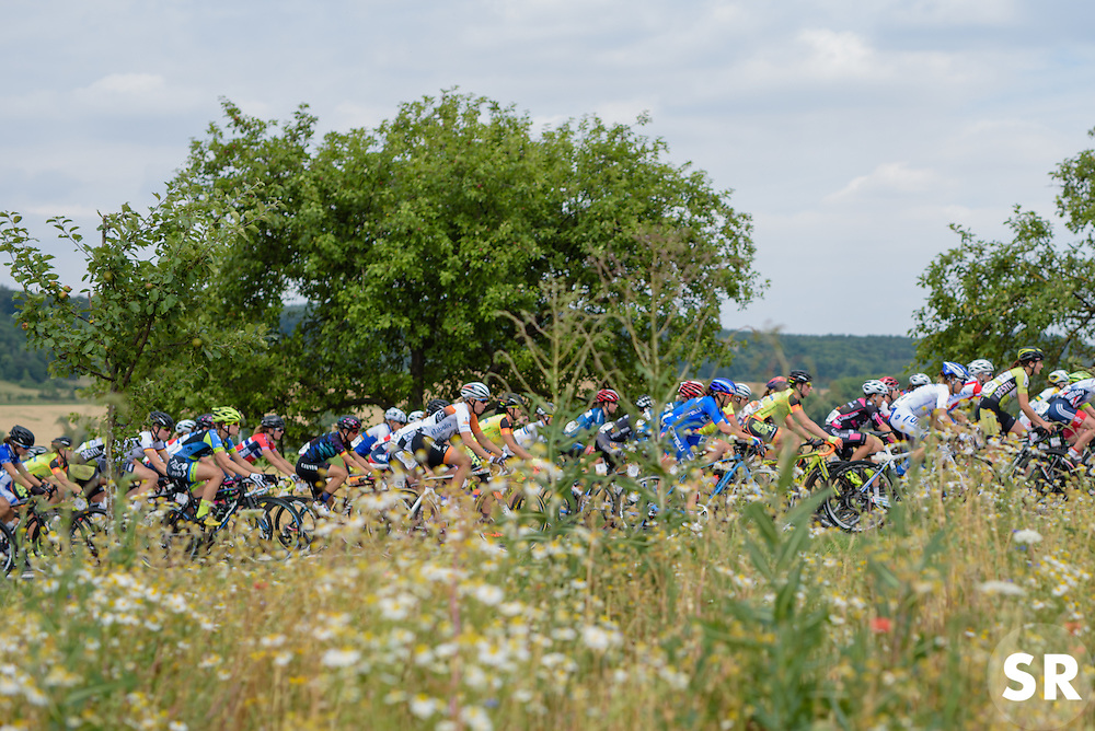 The peloton stream through the Thüringen countryside at Thüringen Rundfarht 2016 - Stage 2 a 103km road race starting and finishing in Erfurt, Germany on 16th July 2016.