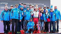 17.03.2019, Soldeu, AND, FIS Weltcup Ski Alpin, Siegerehrung, Gesamtweltcupwertung, Herren, im Bild 1. Platz Herren Marcel Hirscher mit der grossen Kristallkugel für den Sieg im Gesamtweltcup Saison 2018/19 mit seinem Fanclub // all over worlcupwinner Men Marcel Hirscher of Austria with the big crystal globe World Cup season 2018/19 and his fanclub after the men's allover winner Ceremony for the Worlcup of FIS Ski Alpine World Cup finals. Soldeu, Andorra on 2019/03/17. EXPA Pictures © 2019, PhotoCredit: EXPA/ Erich Spiess