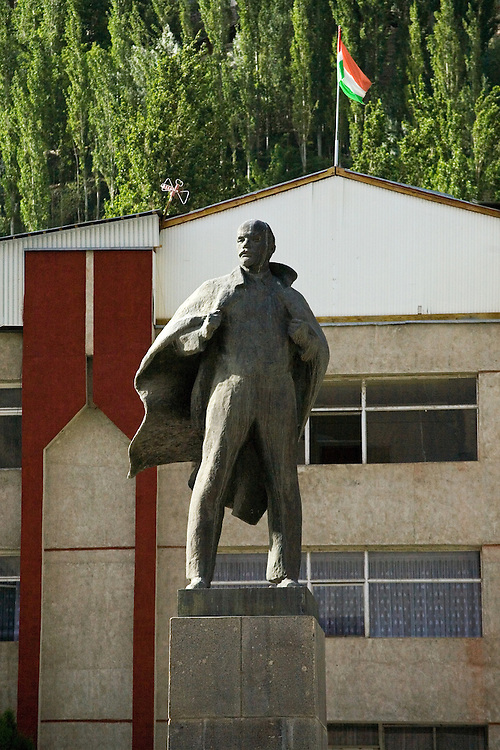Lenin stands guard outside government building in Khorog, Tajikistan