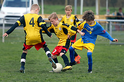07 April 2018. Blaringhem, Pas de Calais, France.<br /> Phase District Festival U13 Pitch - Festival Foot U13. A tournament of 8 teams.<br /> US Montreuil U13a v Lysaafoot.<br /> Montreuil a attiré 0-0.<br /> Photo©; Charlie Varley/varleypix.com