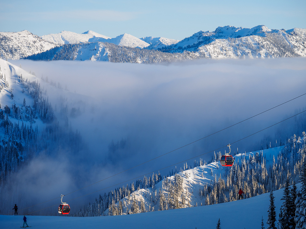 North America, United States, Washington, Mt. Rainier Gondola at Crystal Mountain Ski Resort
