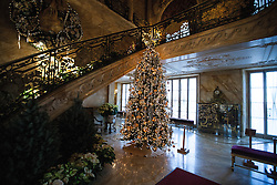 Christmas tree and stairway, Marble House, Newport, Rhode Island, United States of America