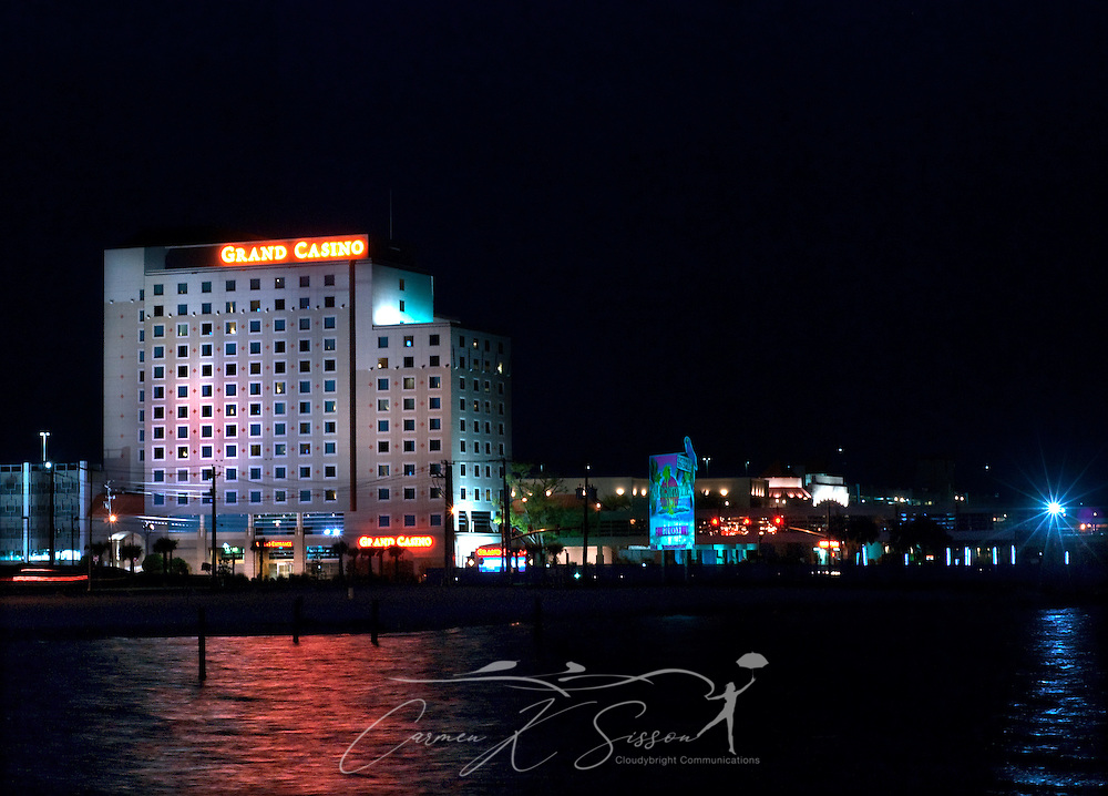 "The Grand Biloxi Casino Hotel and Spa, owned by Harrah Entertainment, lights up the night sky in Biloxi, Mississippi April 13, 2010. The casino, formerly known as the Grand Casino Biloxi, was destroyed by Hurricane Katrina Aug. 29, 2005. It is one of eight casinos that have been rebuilt since the hurricane. Due to the proliferation of gambling, the Mississippi Gulf Coast is often called the ""Poor Man's Riviera."" Other casinos include Beau Rivage and Isle of Capri. (Carmen K. Sisson/Cloudybright)"