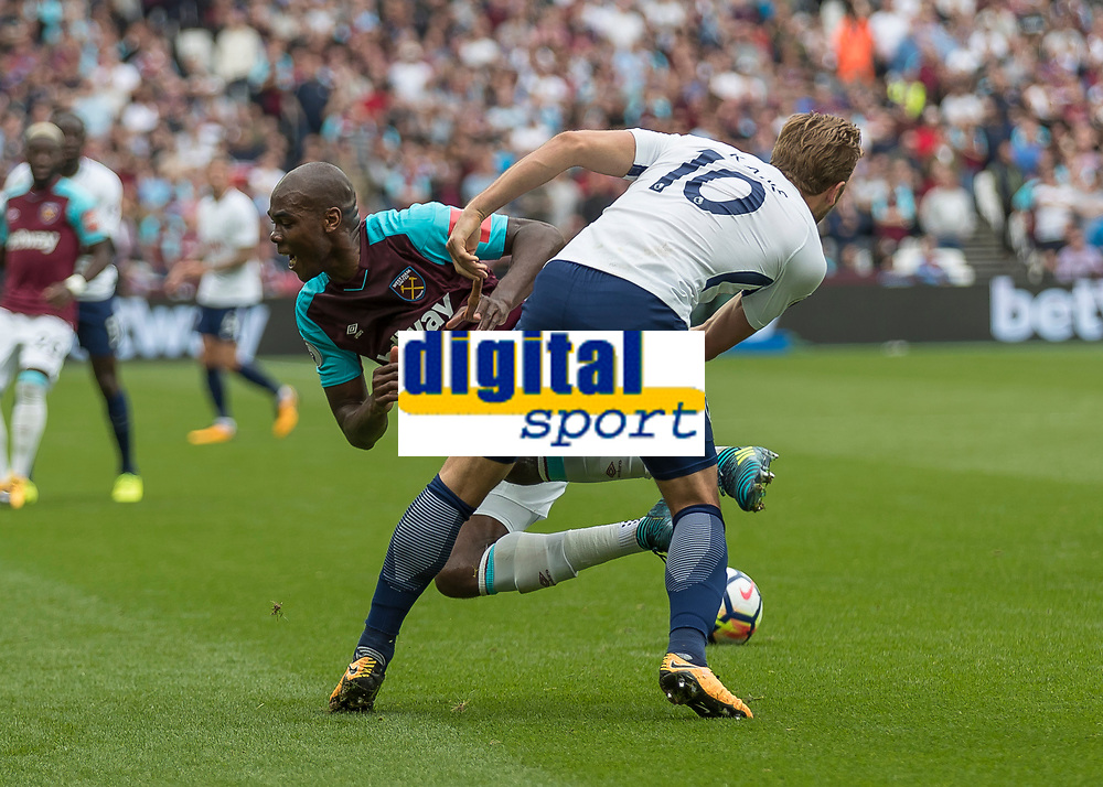 Football - 2017 / 2018 Premier League - West Ham United vs Tottenham Hotspur<br /> <br /> Harry Kane (Tottenham FC)  fouls Angelo Ogbonna (West Ham United) at the London Stadium<br /> <br /> COLORSPORT/DANIEL BEARHAM