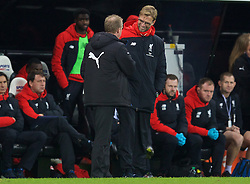 NEWCASTLE-UPON-TYNE, ENGLAND - Sunday, December 6, 2015: Liverpool's manager Jürgen Klopp shares a joke with Newcastle United's head coach Steve McClaren just before the final whistle during the Premier League match at St. James' Park. (Pic by David Rawcliffe/Propaganda)