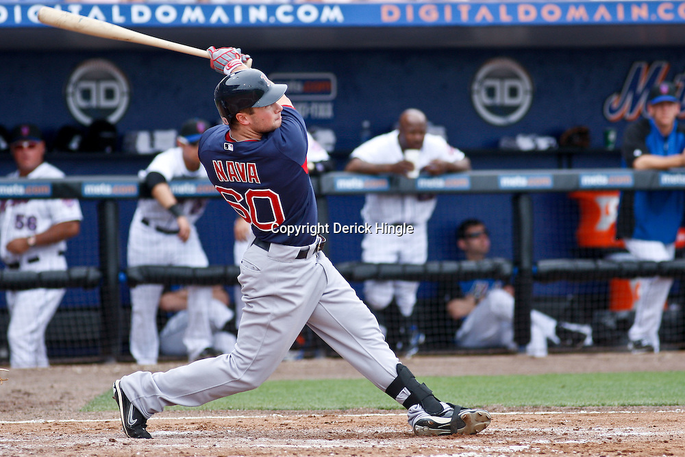March 6, 2011; Port St. Lucie, FL, USA; Boston Red Sox left fielder Daniel Nava (60) during a spring training exhibition game against the New York Mets at Digital Domain Park. The Mets defeated the Red Sox 6-5.  Mandatory Credit: Derick E. Hingle