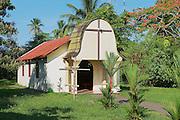 TORTUGUERO, COSTA RICA - JUNE 20, 2012: Exterior of the small catholic church in the town of Tortuguero, Costa Rica.