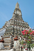 The central prang, a Khmer-style tower, at Wat Arun, a Buddhist temple also known as the Temple of Dawn, in Bangkok, Thailand.