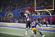 New England Patriots cornerback Stephon Gilmore (24) in action during the NFL Super Bowl 53 football game against the Los Angeles Rams on Sunday, Feb. 3, 2019, in Atlanta. The Patriots defeated the Rams 13-3. (©Paul Anthony Spinelli)