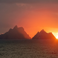 Fiery Skellig Sunset, County Kerry, Ireland ****** <br />