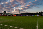 Sunset over Highbury Stadium during the EFL Sky Bet League 1 match between Fleetwood Town and Blackburn Rovers at the Highbury Stadium, Fleetwood, England on 20 January 2018. Photo by Michal Karpiczenko.