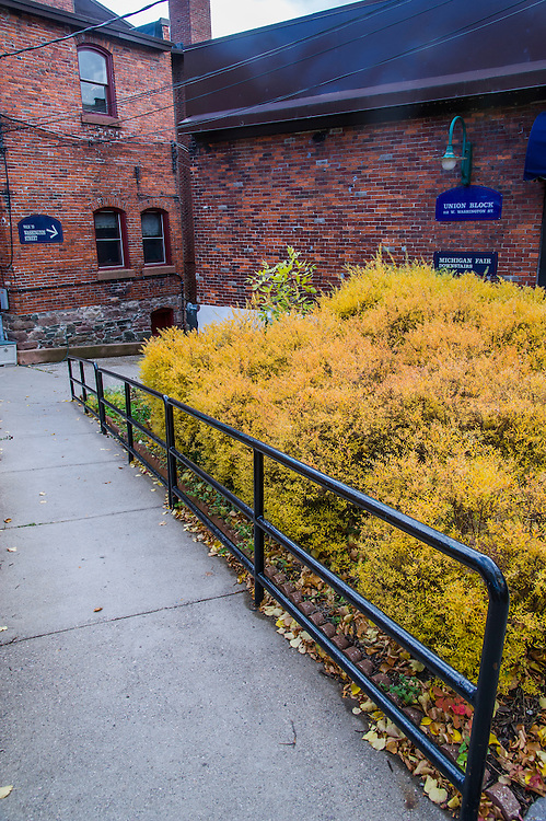 Downtown Marquette, Michigan during peak fall color in autumn on Michigan's Upper Peninsula.
