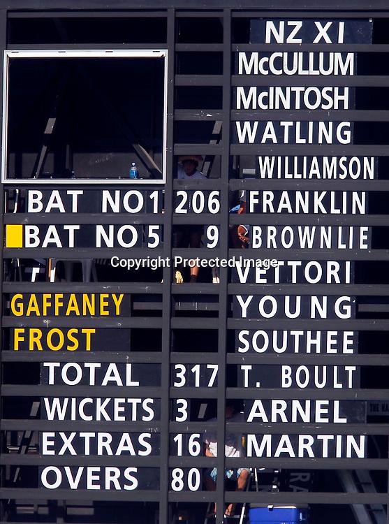 The scoreboard shows Brendon McCullum's 200 runs. International Cricket, New Zealand XI v Pakistan, Cobham Oval Whangarei, Sunday 2nd January 2011. Photo: Shane Wenzlick / www.photosport.co.nz