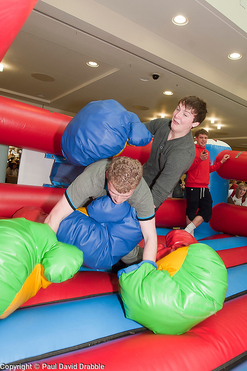 "James Blogg and Lewis McGinty at the launch of the ""Winning The Fight For Breath  with COPD Campaign"" in Meadowhall Shopping Centre Sheffield on Saturday 18th February 2012..www.pauldaviddrabble.co.uk..18th February 2012 -  Image © Paul David Drabble"