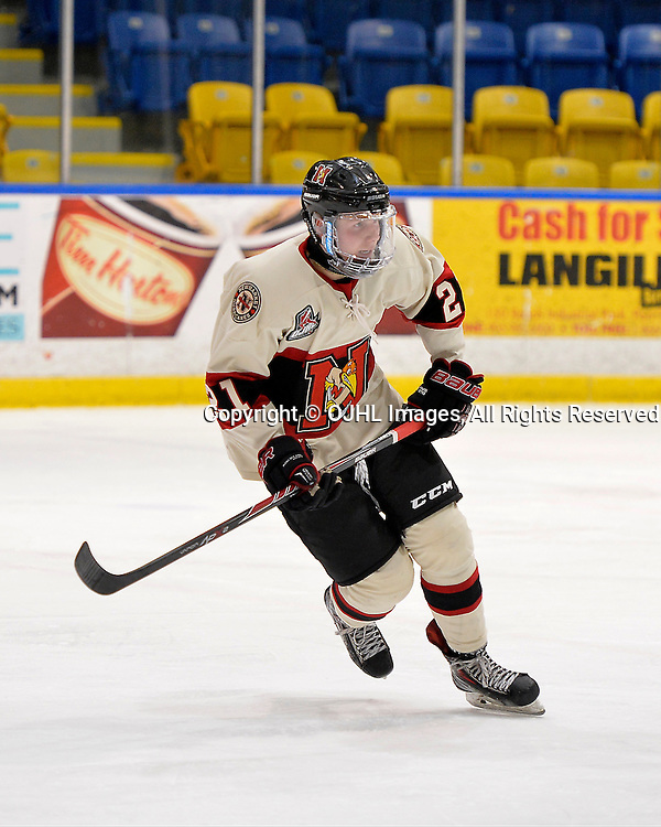 WHITBY, ON - Oct 9, 2015 : Ontario Junior Hockey League game action between Newmarket and Whitby, Jonathan Colley #21 of the Newmarket Hurricanes during the second period.<br /> (Photo by Shawn Muir / OJHL Images)