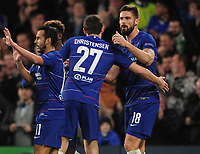Football - 2018 / 2019 Europa League - Group L: Chelsea vs. PAOK Salonika<br /> <br /> Olivier Giroud of Chelsea celebrates scoring goal no 1with Andreas Christensen, at Stamford Bridge.<br /> <br /> COLORSPORT/ANDREW COWIE