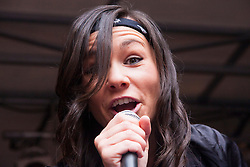 London, June 28th 2014. Singer Jes Stretton performs in Soho as thousands of London's LGBT community and their supporters throw a vast party in Soho.