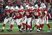 The Arizona Cardinals offense breaks from the huddle and heads to the line of scrimmage during the NFL NFC Divisional round playoff football game against the Green Bay Packers on Saturday, Jan. 16, 2016 in Glendale, Ariz. The Cardinals won the game in overtime 26-20. (©Paul Anthony Spinelli)