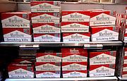 Marlboro Cartons at airport duty free store