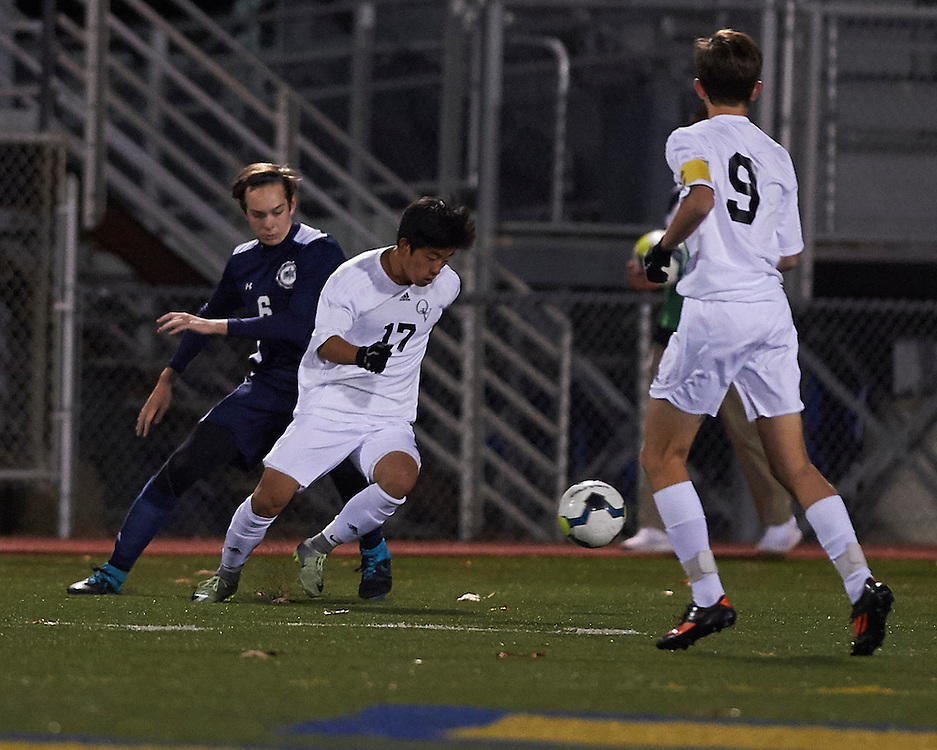 Quaker Valley High School vs Shadyside Academy in the semi-final game of the 2016 AA Pennsylvania Interscholastic Athletic Association (PIAA) Boys Soccer Championships at Mars High School Stadium in Mars, PA, on November 15, 2016.  Quaker Valley went on to win the match 1-0, advancing to the state championships.  Photo: Shelley Lipton.