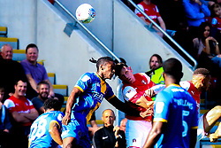 Omar Beckles of Shrewsbury Town and Billy Jones of Rotherham United jump to head the ball - Mandatory by-line: Ryan Crockett/JMP - 21/09/2019 - FOOTBALL - Aesseal New York Stadium - Rotherham, England - Rotherham United v Shrewsbury Town - Sky Bet League One