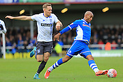 Calvin Andrew, Peter Clarke during the The FA Cup match between Rochdale and Bury at Spotland, Rochdale, England on 6 December 2015. Photo by Daniel Youngs.