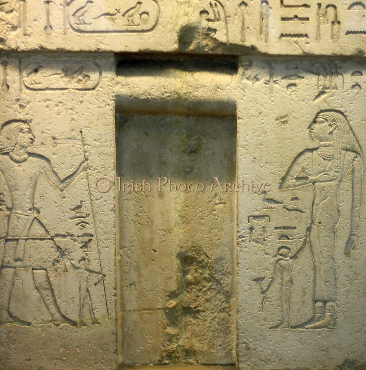 False door of Neferseshemkhufu. 5th Dynasty Egyptian wall feature from Guza. Dated approximately 2400 BC. Made of limestone.