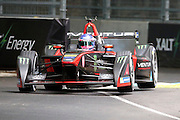 Venturi driver, Stephane Sarrazin with two wheels in the air during round 10, Formula E, Battersea Park, London, United Kingdom on 3 July 2016. Photo by Matthew Redman.