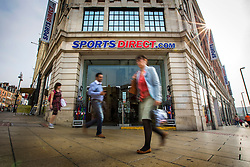 © Licensed to London News Pictures. 08/06/2016. Leeds UK. Picture shows Sports Direct on the Headrow in Leeds. Sports Direct are being investigated by HMRC over allegations the company paid less than the legal minimum wage. Photo credit: Andrew McCaren/LNP