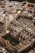 Aerial of the cathedral in Seville, Spain.