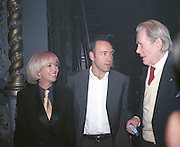 Sally Greene, Kevin Specey and Peter O'Toole.  New Board of Directors at the Old Vic. October 1998. © Copyright Photograph by Dafydd Jones 66 Stockwell Park Rd. London SW9 0DA Tel 020 7733 0108 www.dafjones.com