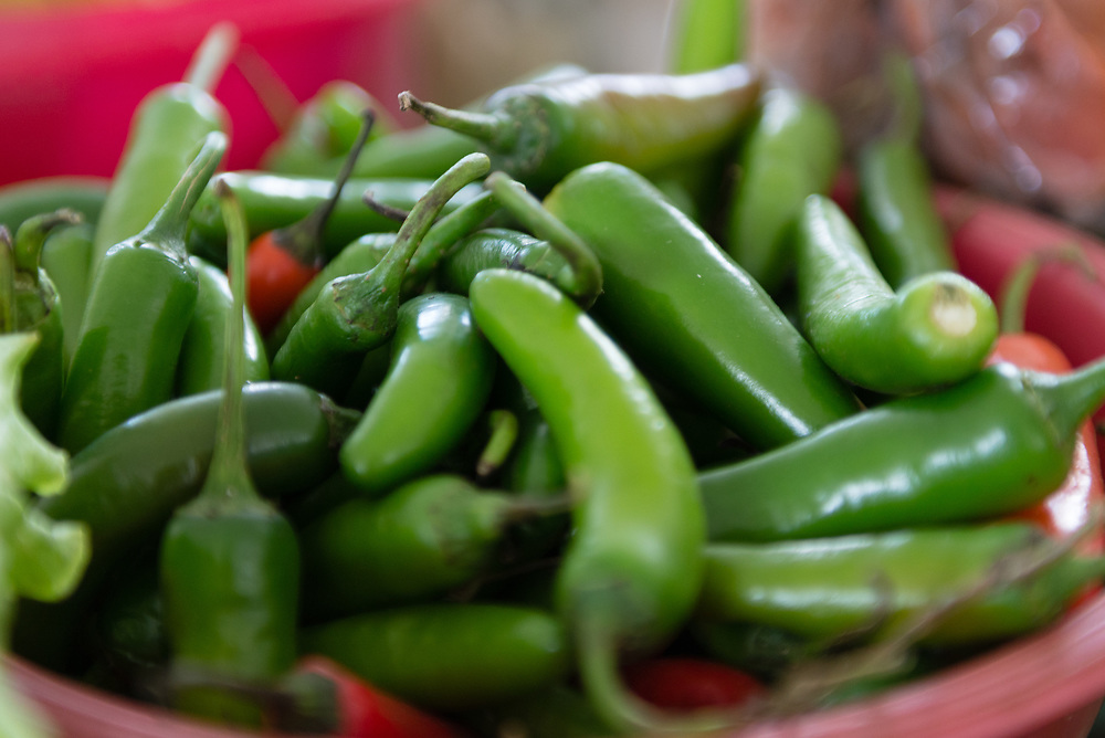 Green chillies for sale at a food market in Merida, Mexico
