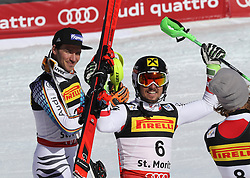 19.02.2017, St. Moritz, SUI, FIS Weltmeisterschaften Ski Alpin, St. Moritz 2017, Slalom, Herren, Siegerehrung, im Bild v.l. Felix Neureuther (GER, Herren Slalom Bronzemedaille), Marcel Hirscher (AUT, Herren Slalom Herren Slalom Weltmeister und Goldmedaille) // f.l. men's Slalom Bronze medalist Felix Neureuther of Germany, men's Slalom world Champion and Gold medalist Marcel Hirscher of Austria during the winner Ceremony for the men's Slalom of the FIS Ski World Championships 2017. St. Moritz, Switzerland on 2017/02/19. EXPA Pictures © 2017, PhotoCredit: EXPA/ Sammy Minkoff<br /> <br /> *****ATTENTION - OUT of GER*****